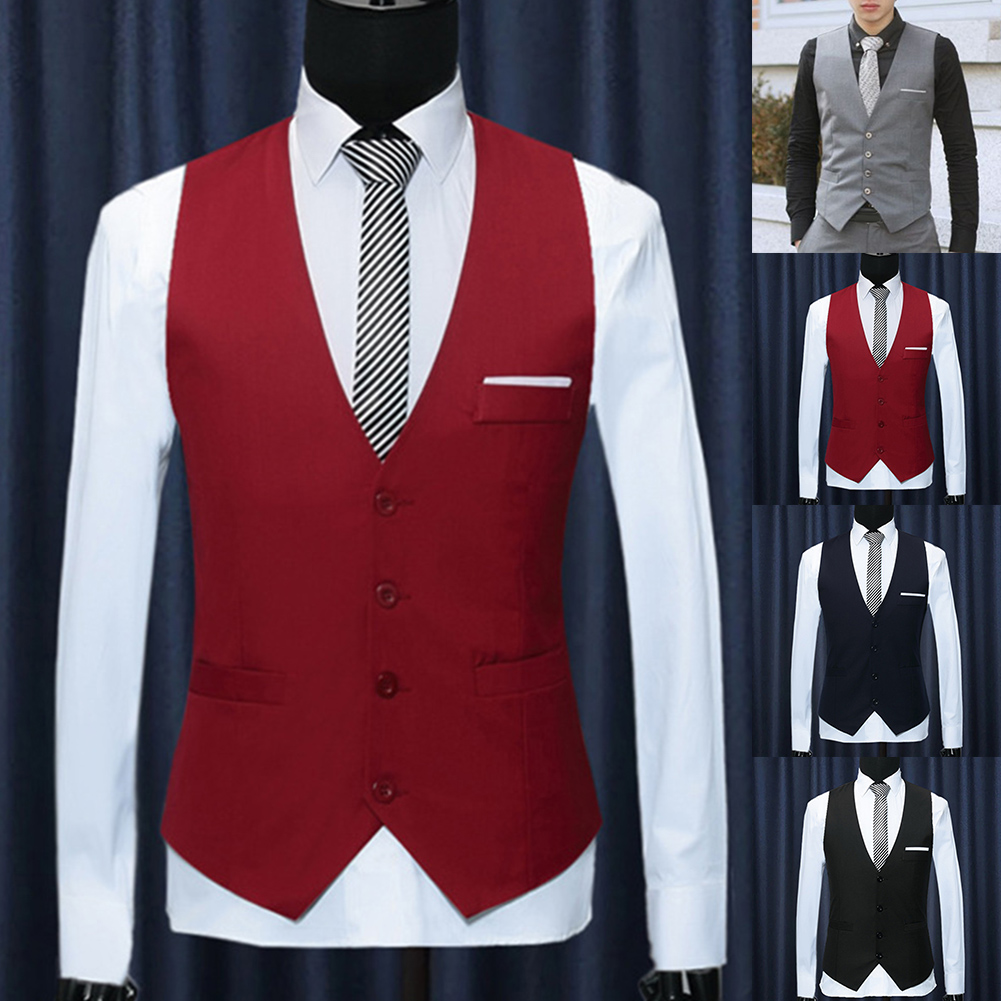 Men Formal Waistcoats Dress Suit Vest Slim Vest V Neck Men Casual Sleeveless Spring Autumn Suit Vest New Office Men Waistcoats