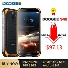 DOOGEE S40 IP68/IP69K 4G Robuste Handy 4650mAh Android 9,0 5.5 ''18:9 MT6739 Quad Core 3GB 32GB NFC Gesicht ID LTE Telefon