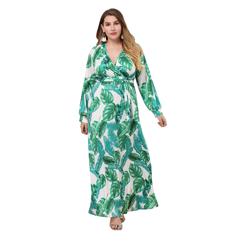 2019 Summer Bohemian Dress Large Size Women 39 s Dress Long sleeve Slim V neck Bohemian Large Swing Dress Women 39 s Clothing in Dresses from Women 39 s Clothing