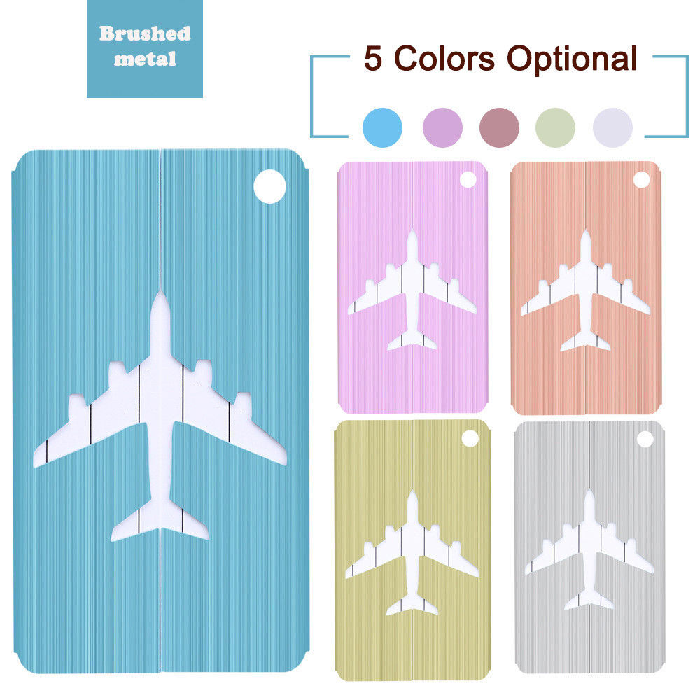 New Brushed Aluminium Luggage Tags Suitcase Label Address ID Baggage Tag Travel Travel Accessories High Quality