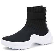 Fashion Sneakers Woman Platform Soft Heel Woman Casual Shoes High Top Knitted Woman Leisure Ankle Sock Fabric Mesh Shoes 35-42 jookrrix casual elasticity sock shoes women brand white sneakers high top lady fashion mesh chaussure female leisure footware