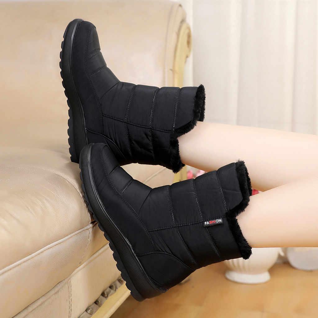 Kar botları kadın sonbahar kış artı kadife kalınlaşma su geçirmez ayakkabı sıcak tutmak yarım çizmeler ayakkabı kadın Botines Mujer 2019