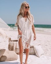 Hollow Beach Clothes Swimsuit Cover Up for Women New Explosive Patchwork Knitted Tassel Hollow Sexy Bikini Shirt 2019 Summer