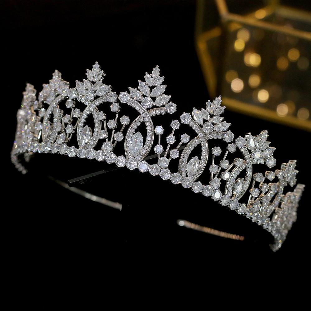 Image 4 - Винтажная тиара в стиле барокко с кристаллами, свадебные аксессуары для волос, Высококачественная свадебная корона из циркония, свадебные аксессуары для сопряжения-in Украшения для волос from Украшения и аксессуары