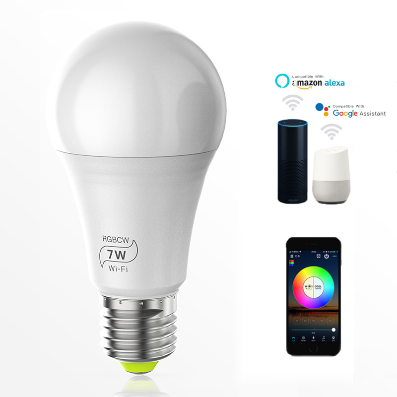 Magic 7W E27 RGB Led Light Bulb Smart Home Bluetooth Lamp Color Change Dimmable AC 85-265V Work With ALexa Google Home