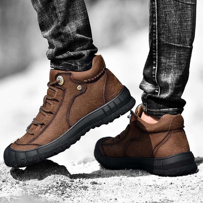 Купить мужские винтажные ботинки из натуральной кожи с круглым носком