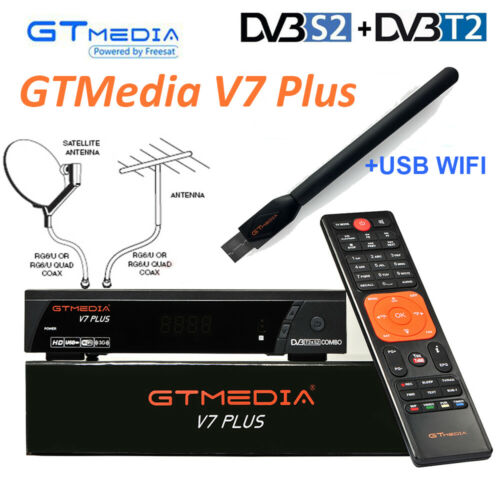 Récepteur TV Satellite GTMEDIA V7 PLUS DVB-T2/S2 H.265 + WIFI USB Anttena espagne allemagne Tuner TV PK V8 Super + 1 an Europe CCcam