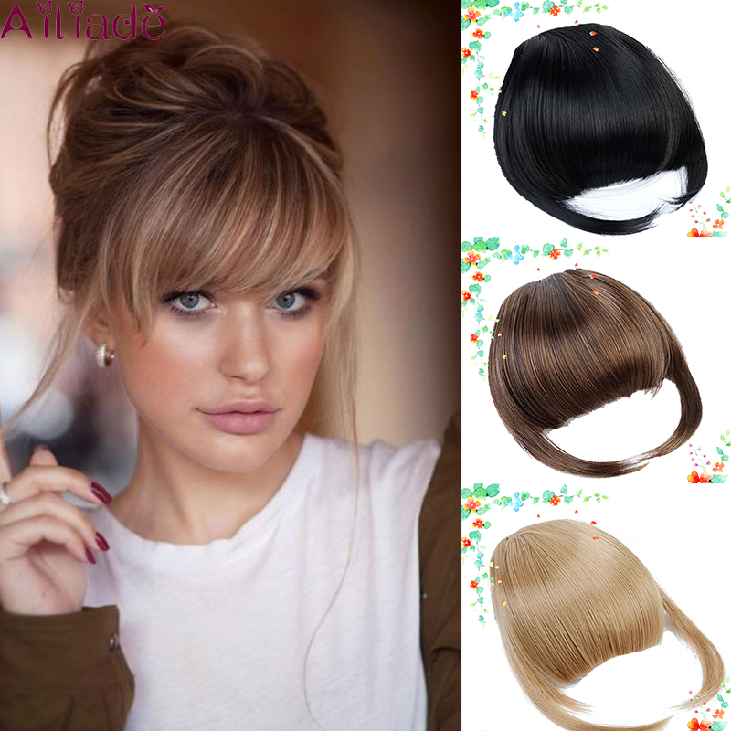 AILIADE Heat Resistant Fiber Synthetic Hair Neat Front False Fringe Thin Blunt Clip In Bangs Piece For Women Clip On Bangs Blunt