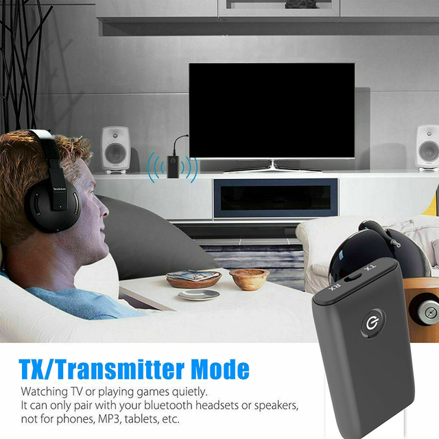 2 in 1 Bluetooth 5.0 Transmitter Receiver TV PC Car Speaker 3.5mm AUX Hifi Music Audio Adapter/Headphones Car/Home Stereo Device 2