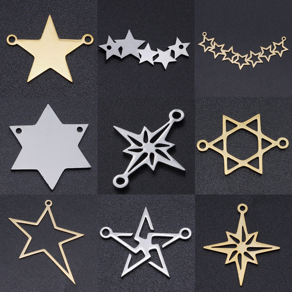 5pcs/lot Star of David DIY Earring Charms Wholesale 100% Stainless Steel Meteor Connectors Charm Starry Jewelry Pendant