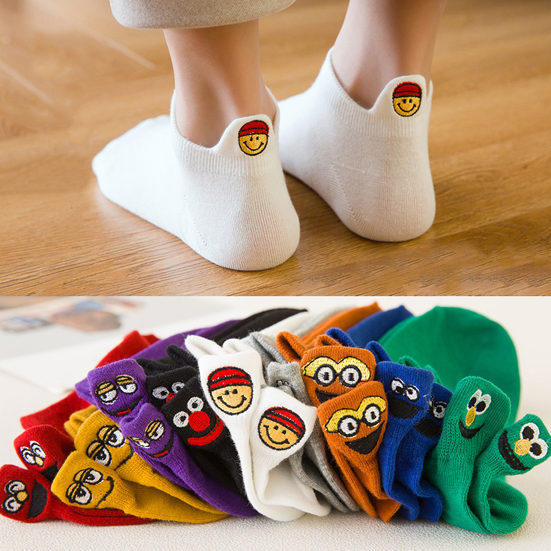 5 Pairs/Pack cotton cute cartoon Embroidered Expression socks women harajuku short Happy Fashion Ankle Funny Candy woman socks