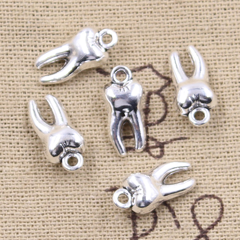 12pcs Charms 3D Zombie Tooth Teeth Molar 16x8x5mm Antique Bronze Silver Color Plated Pendant Making DIY Handmade Tibetan Finding 1