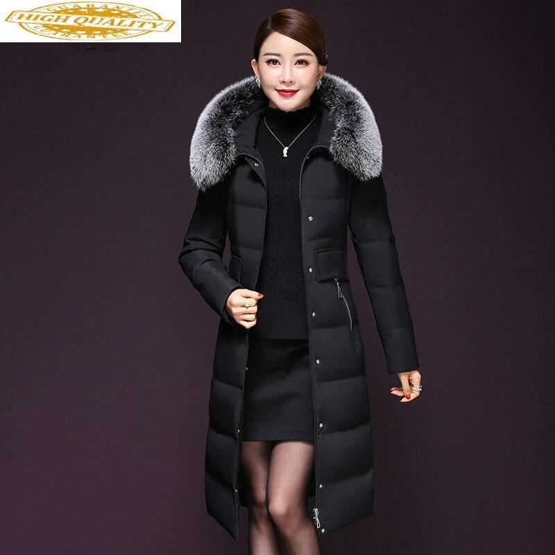 Women's Winter Down Jacekt Hooded Fox Fur Collar Korean Long Puffer Duck Down Coat Winter Warm Jackets X1788 KJ3483