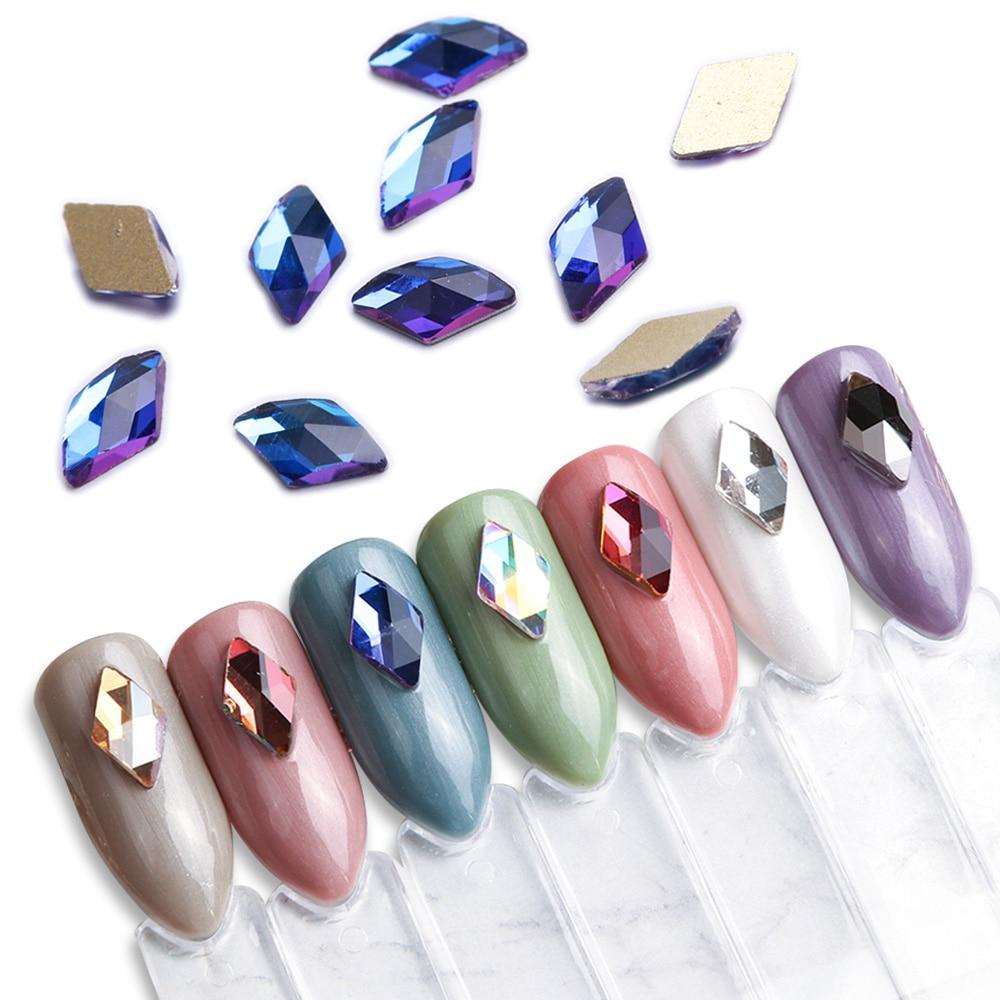 10pcs Rhombus Nail Rhinestones Crystals Flatback Glass Stones Manicure Nail Art Decoration Charms Gem Jewelry Accessories JI717