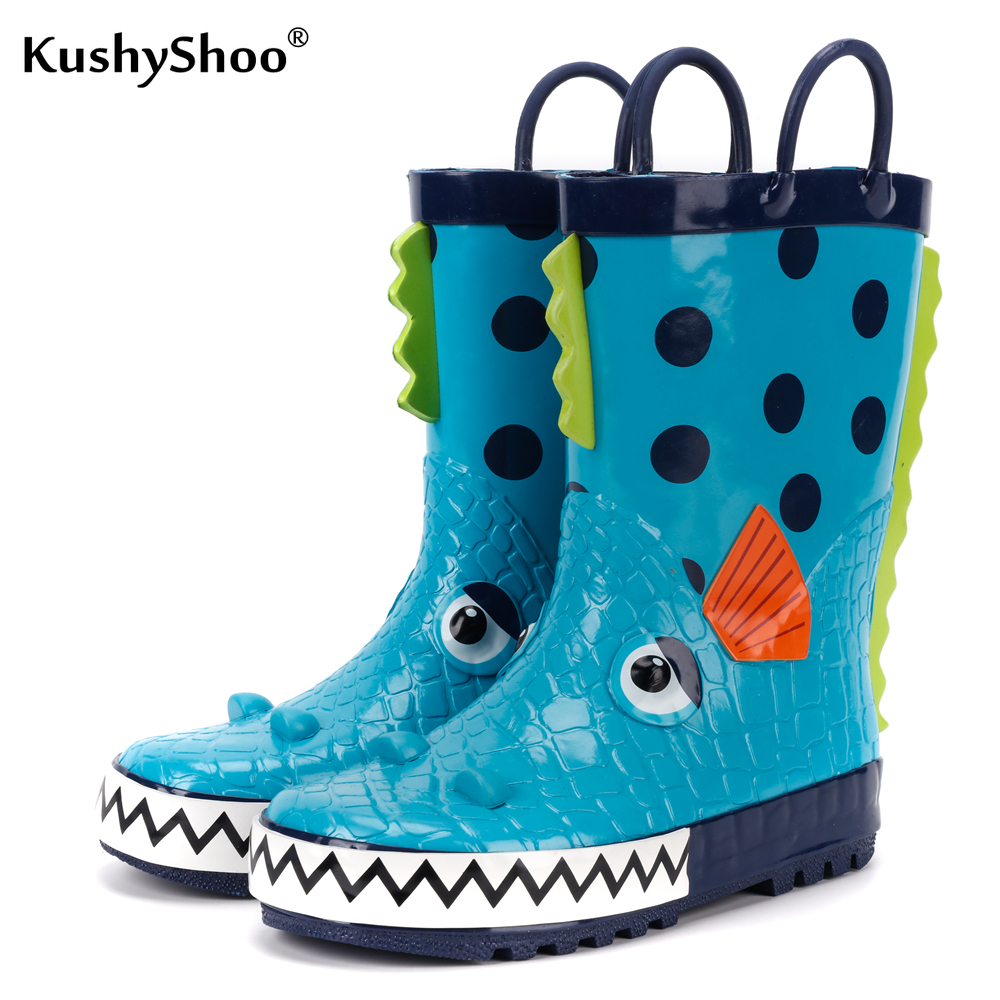 KushyShoo Children's Rubber Boots Waterproof Rain Boots Kids 3D Cartoon Piranha Toddler Boys Rainboots Toddler Boots