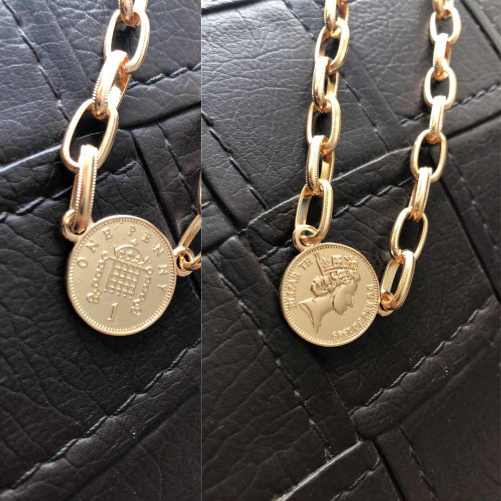 TRENDY GOLD COLOR PLATING COIN PENDANT CHOKER NECKLACE FOR WOMEN GIRL