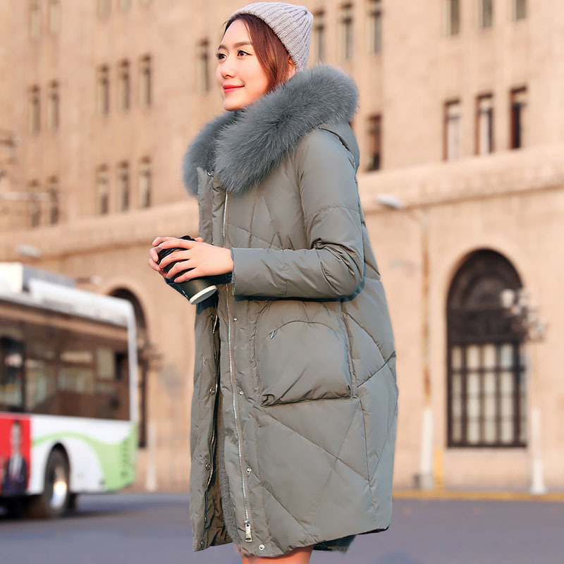 Winter Women's Down Jackets Fox Fur Collar Korean Red Bride Down Jacket High Quality Loose Long Coat Kurtka Zimowa KJ460