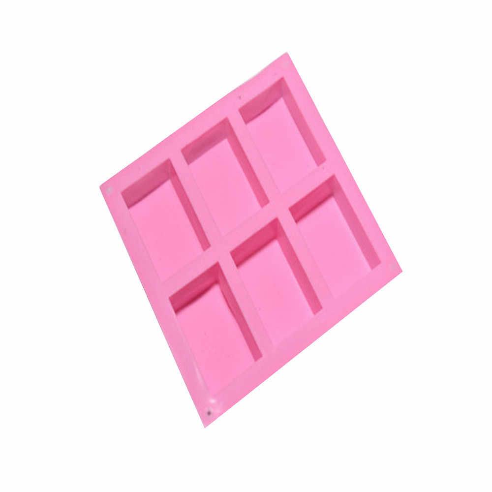 6 cavidade simples retângulo básico silicone sabão molde assar molde bandeja para artesanal diy sabão molde ferramentas de decoração moule savon