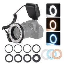 Andoer – anneau lumineux LED HD-130, écran LCD 3000-15000K GN46, contrôle de puissance + diffuseurs de Flash pour appareils photo Canon Nikon Pentax
