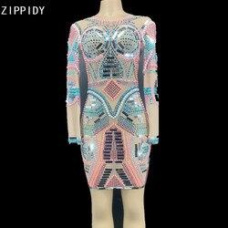 Разноцветное Прозрачное платье с жемчужинами и блестками, украшенное стразами, с длинными рукавами, наряд для празднования дня рождения, же...