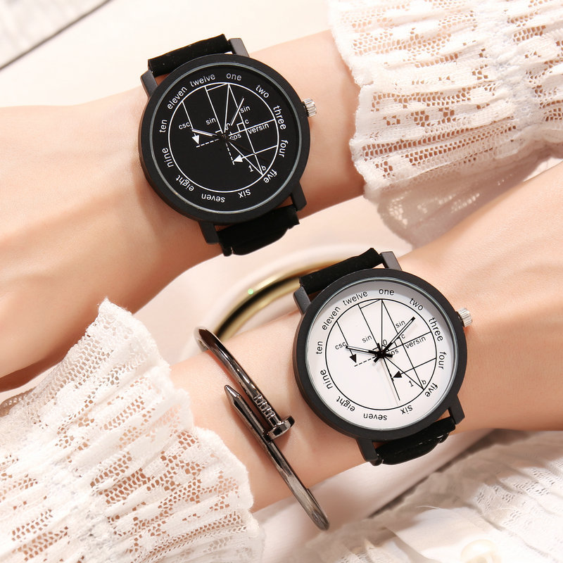 Couple Watch Mathematical Formula Lover Watches Leather Band Fashion Casual Clock Harajuku Style Regalo Hombre Sevgili Saati
