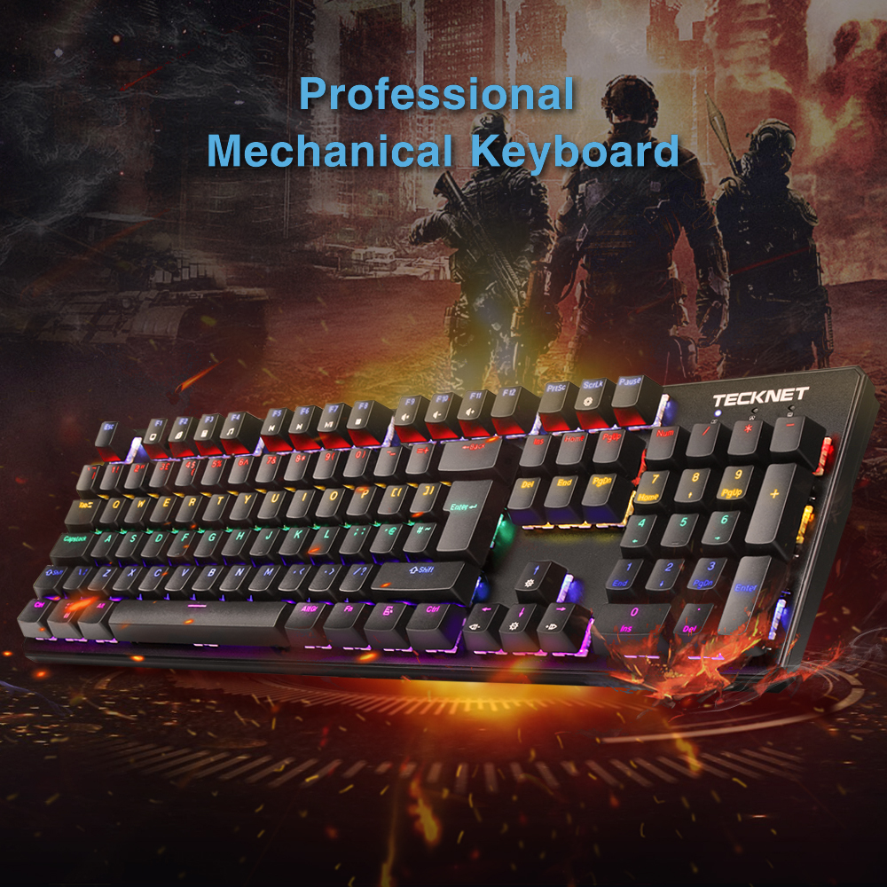 TeckNet 105 Keys Wired Mechanical Keyboard UK Layout Blue Anti-ghosting Gaming Keyboard For Tablet Desktop