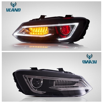 VLAND factory for car headlight for Polo LED head lamp 2011 2012 2013 2014 2015 2016  2017 with moving signal+demon eyes