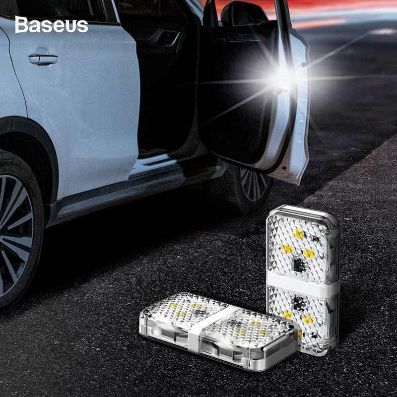 Baseus 2pcs 6 LEDs Car Openning Door Warning Light Safety Anti-collid Alarm Lamp Indication Wireless Parking Flash Signal Lights
