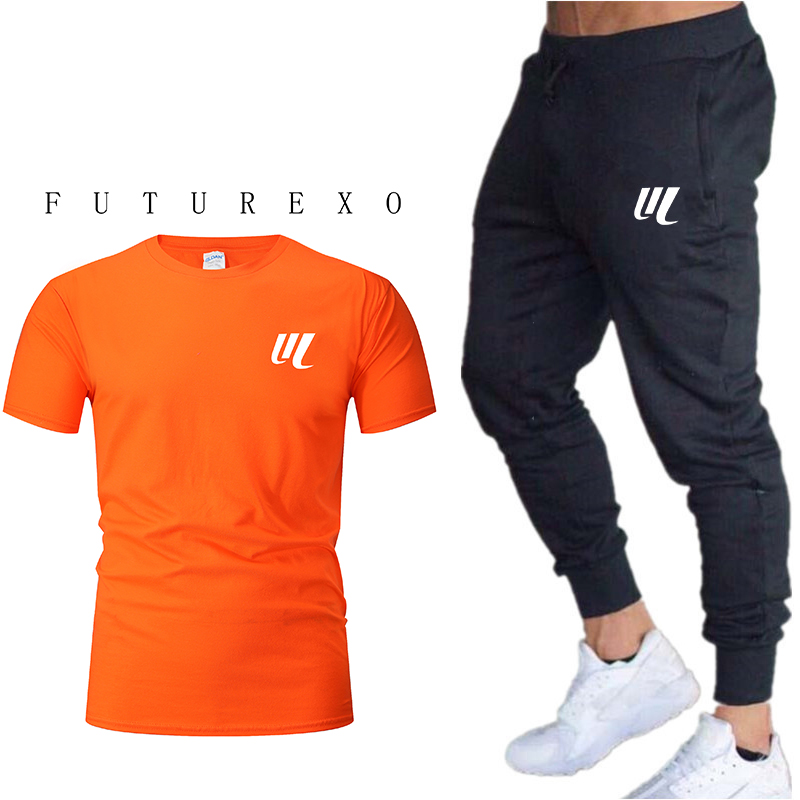 2020 New Style Jogging Pants Men's Short-sleeved Sportswear Football Game Fitness Clothing 2 Pieces / Set Of Men's T-shirt Sport