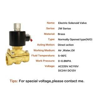 "Image 2 - Electric Solenoid Valve 1/4"" 3/8"" 1/2"" 3/4"" 1"" DN8/10/15/20/25/50 Normally Opened Pneumatic for Water Oil Air 12V/24V/220V/110V"
