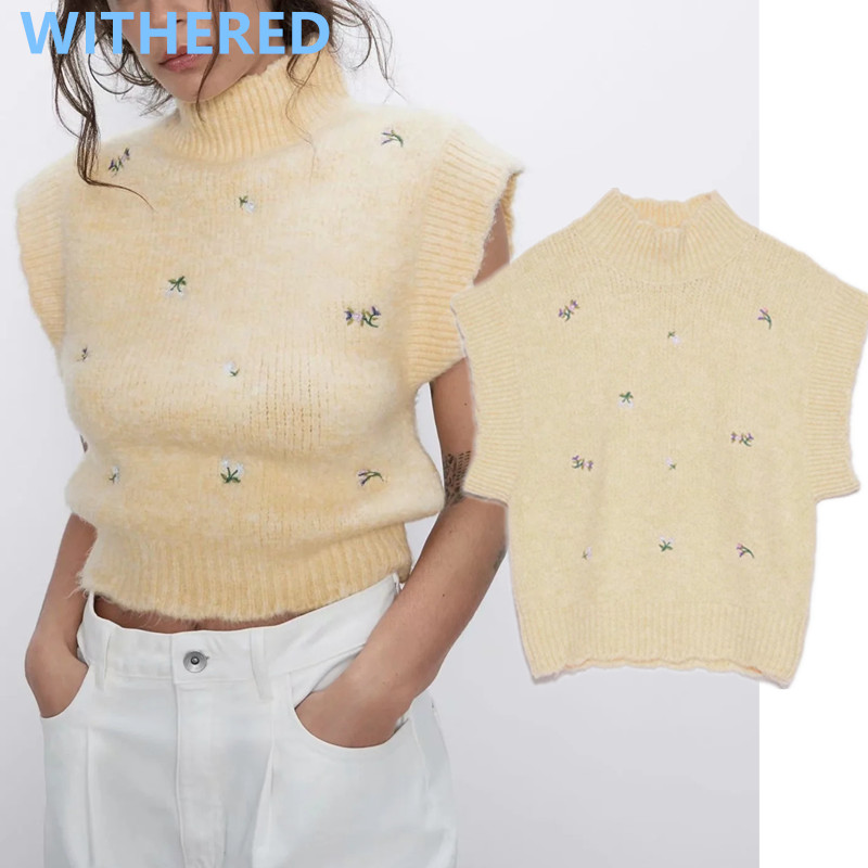 Withered England Vintage Floral Embroidery Sleeveless Turtleneck Vest Sweaters Women Pull Femme Sweaters Women Pullovers Tops