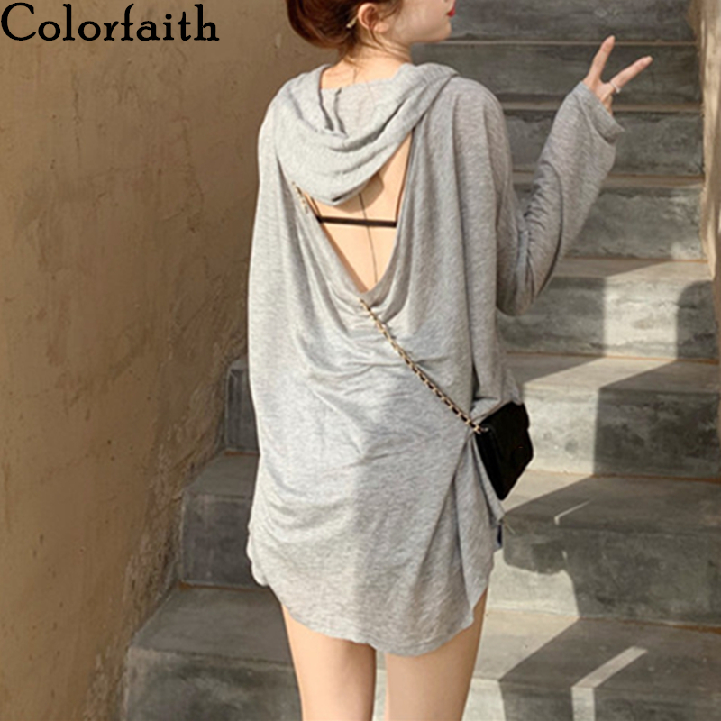 Colorfaith New 2020 Women Spring Summer T-Shirts Bottoming Casual Hooded Fashionable Loose Hollow Out Lady Oversize Tops T1189