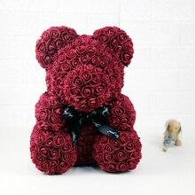 40 см цветок Роза медведь Подарочная коробка цветок плюшевый медведь искусственный пенопластовый Медведь День Святого Валентина День рождения Рождество подарок свадебное украшение