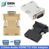 Convertidor hembra a VGA macho HDMI, adaptador de Cable de Audio 3,5 P FHD, salida de vídeo para PC, portátil, TV, Monitor y proyector, 1080mm