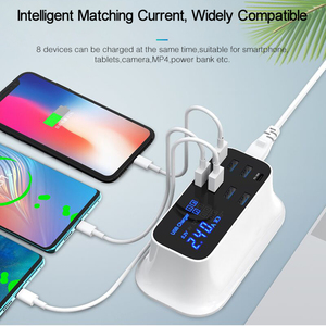 Image 3 - GOOJODOQ ładowarka PD 40W 8 Port USB ładowarka inteligentny wyświetlacz ledowy USB szybkie ładowanie dla Apple iPhone Adapter ipad Xiaomi Samsung