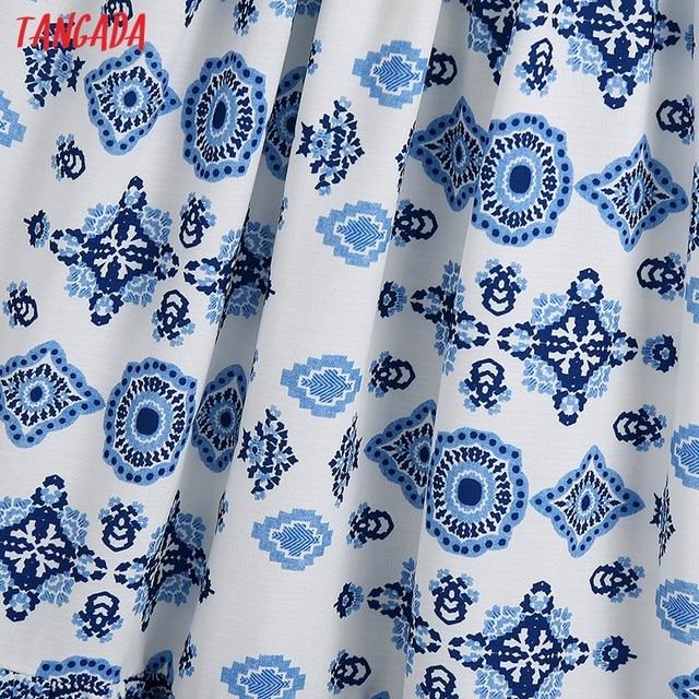 Tangada Boho Style Fashion Flowers Print Strap Dresses for Women 2021 Female Casual Long Dress BE136 4