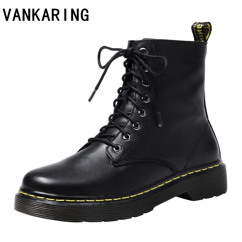 2020 autumn winter quality genuine leather punk short boots lace up high heel women ankle boots party black shoes woman big size