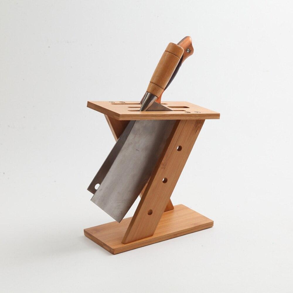 High Quality Z-shape Bamboo Knife Block Creative Knife Rack Shelf Organize For Home Restaurant Kitchen
