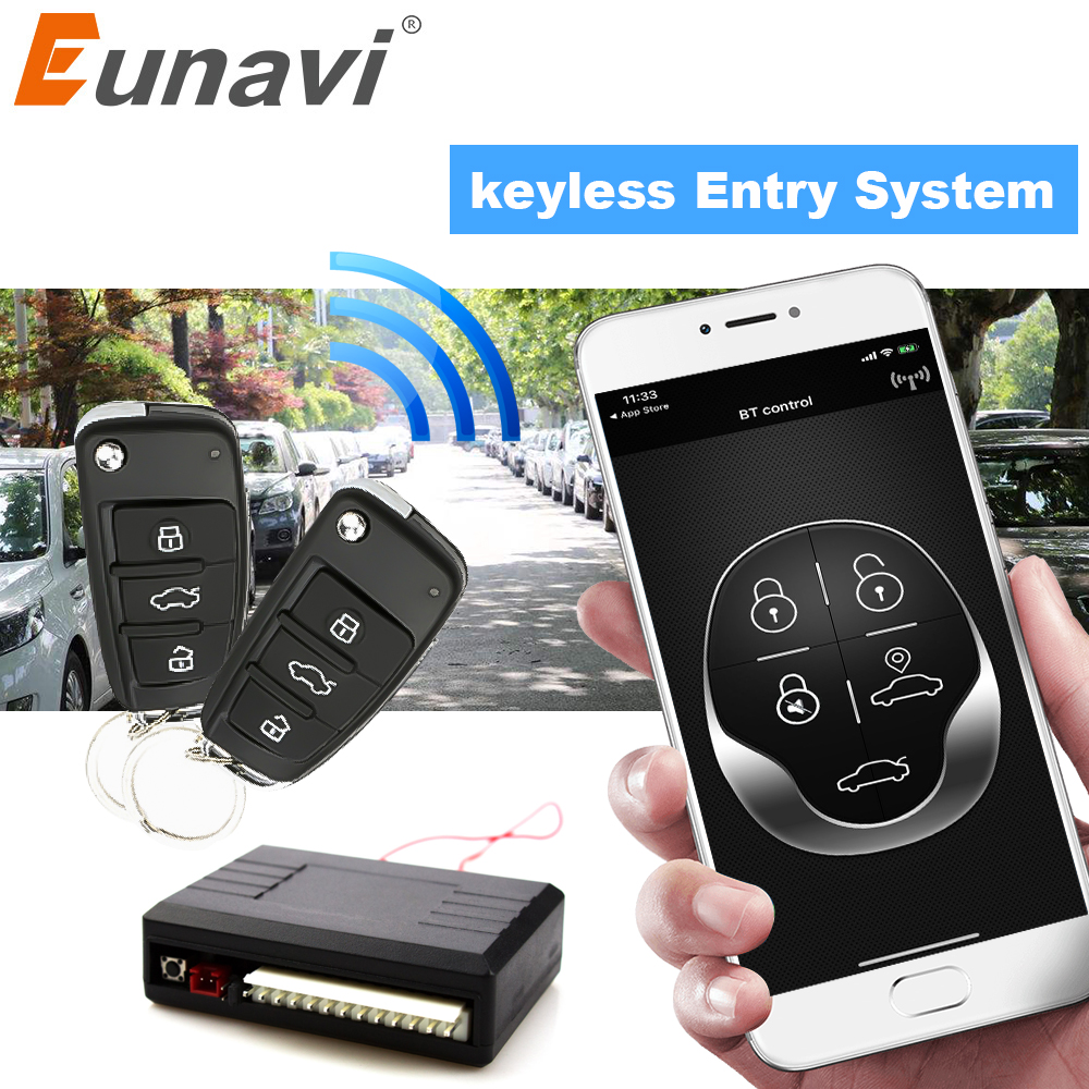 Eunavi Universal Car Auto Keyless Entry System Button Start Stop LED Keychain Central Kit Door Lock With Remote Control