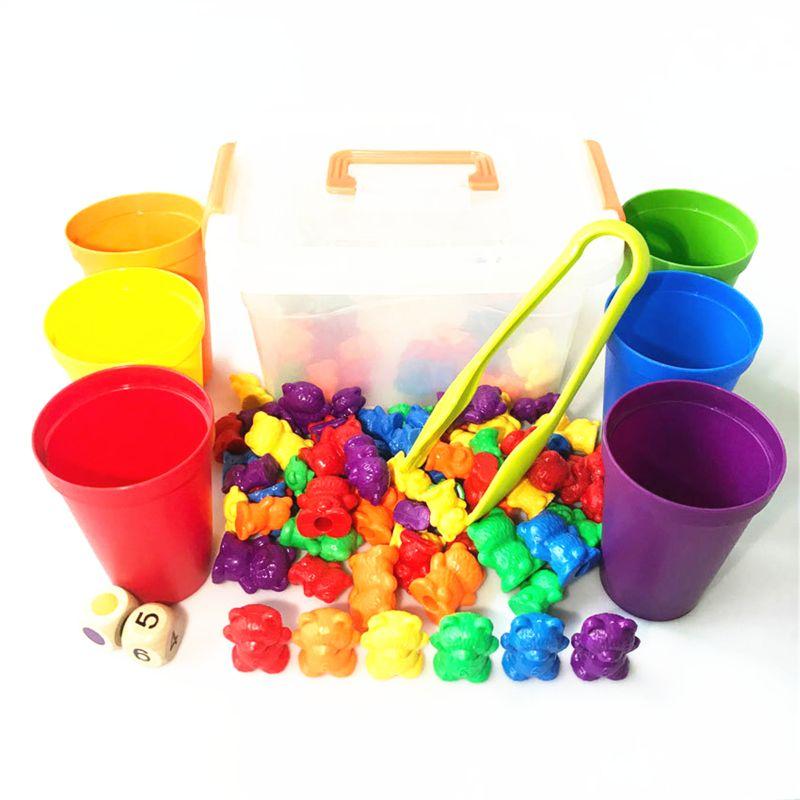 empilhamento copos conjunto montessori arco-íris jogo de