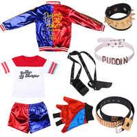Halloween 8 Uds Harley Quinn funda cinturón Para pistola Cosplay disfraces niños niñas Purim abrigos Femme chaqueta guantes Chamarras Para Mujer trajes