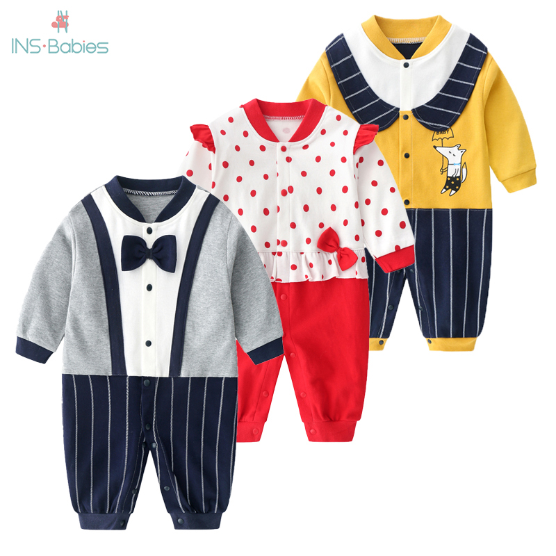 2020 Baby Boy Clothes Spring Gentleman Rompers 0-12M Babies Grils Cotton Jumpsuit Newborn Boy Romper Unisex Baby Clothes Costume