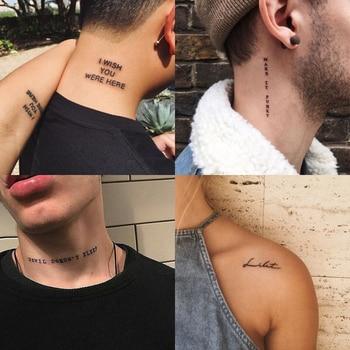 56Sheet Waterproof Temporary Tattoo Sticker Black Devil Doesn't Sleep English Letters Tatoo Fake Tatto Neck Wrist For Woman Men 1
