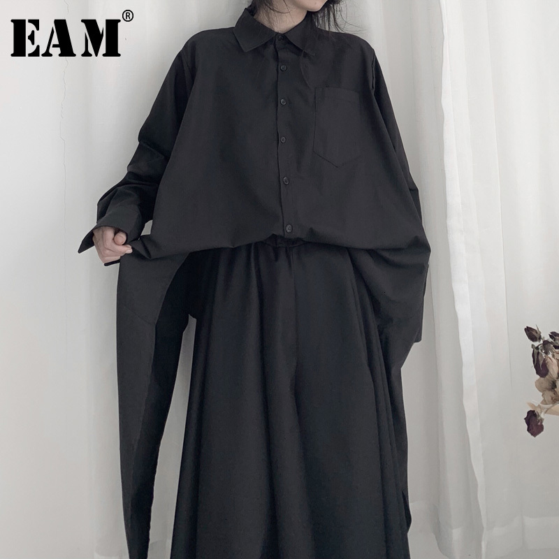 [EAM] Women Black Asymmetrical Long Big Size Blouse New Lapel Long Sleeve Loose Fit Shirt Fashion Spring Autumn 2020 19A-a674