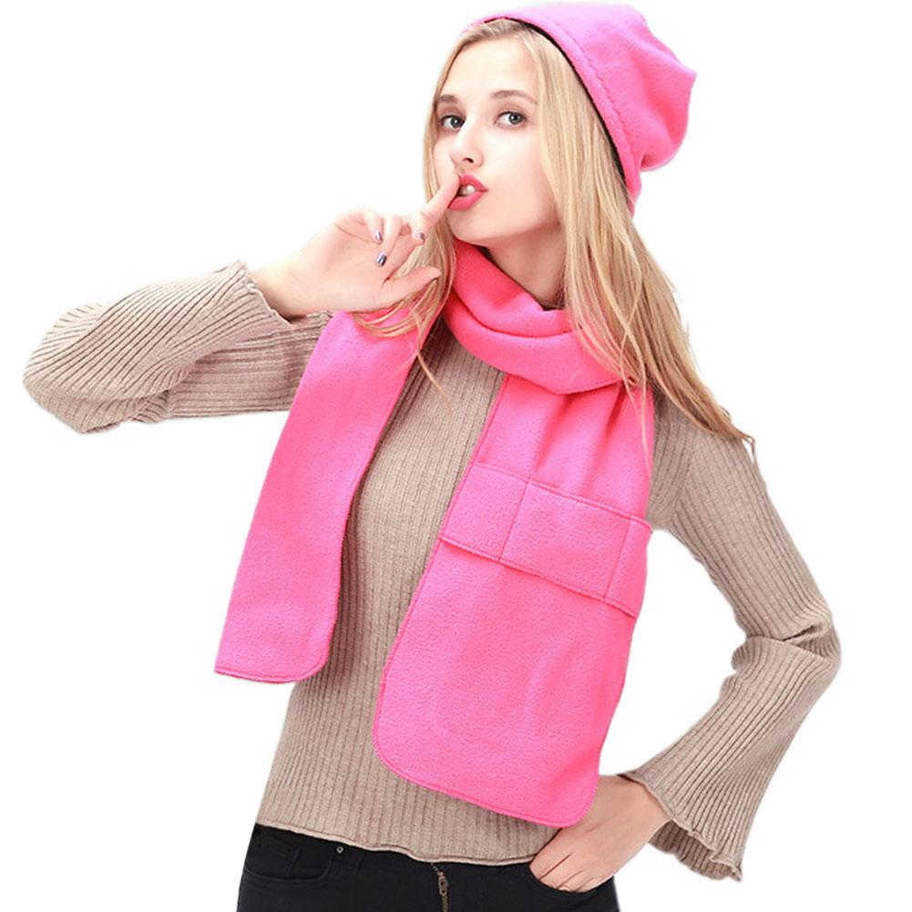 2PCS Winter Hat Scarf Set Autumn Winter Fleece Hat Outdoor Sports Riding Hiking Warm Thicken Hat Scarf