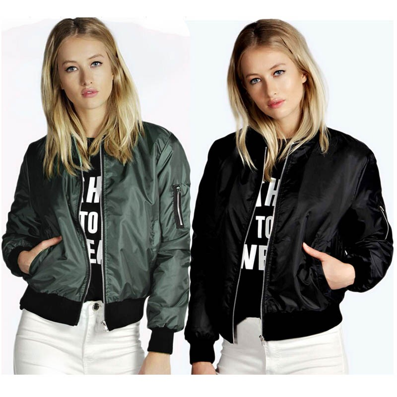 H2fe3abb54f4a48eebe2e089f53ee5a85a 2021 Spring Autumn Women Thin Jackets Tops MA1 Basic Bomber Jacket Long Sleeve Coat Casual Stand Collar Slim Fit Outerwear