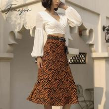 Femajor Women Fashion Khaki Leopard Print Skirts 2019 Fall F