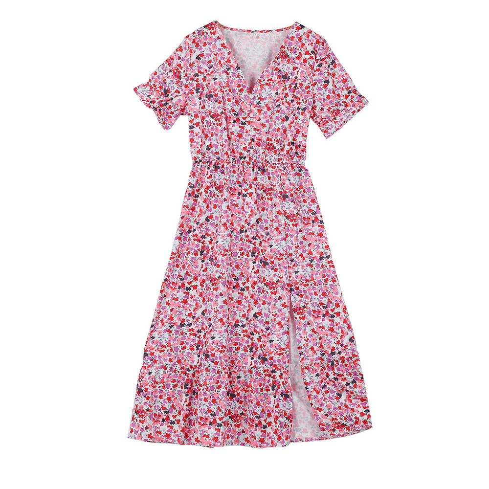 2021 Spring Floral Print Slim Long Shirt Dress Women V-neck Button Split Party Dress Autumn Long Sleeve Elastic Waist Maxi Dress