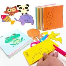 48 sztuk dzieci Cartoon DIY papier kolorowy cięcia składane zabawki kinggarden dzieci edukacyjne rzemiosło artystyczne z nożycami narzędzia prezenty