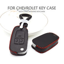 Real Leather Car Accessories Styling Key Case Fob Cover For Chevrolet Cruze Onix Lacetti Tahoe Spark Trax Equinox Keychain(China)
